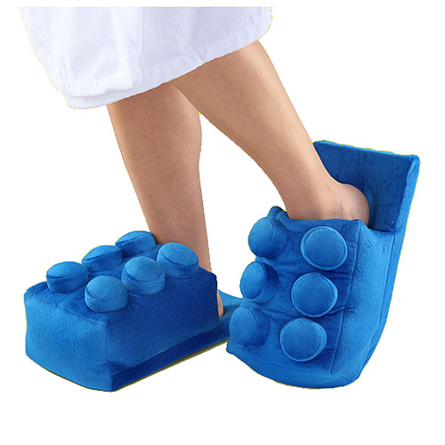 Building Brick Blue Slippers