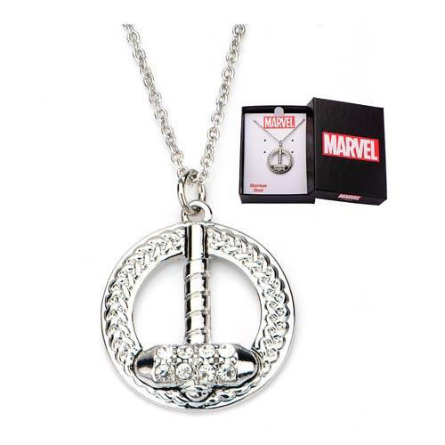 Thor Hammer Bling Gems Necklace