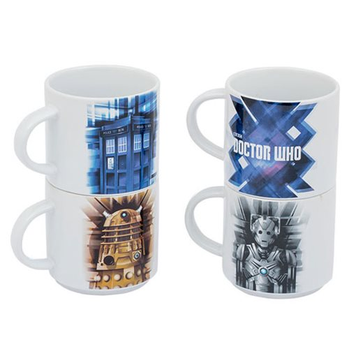 Doctor Who Stacking Ceramic Mug 4-Pack