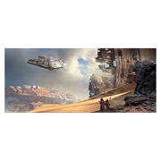 Star Wars Classic Trilogy Through the Wreckage by Stephen Martiniere Framed Canvas Giclee Print