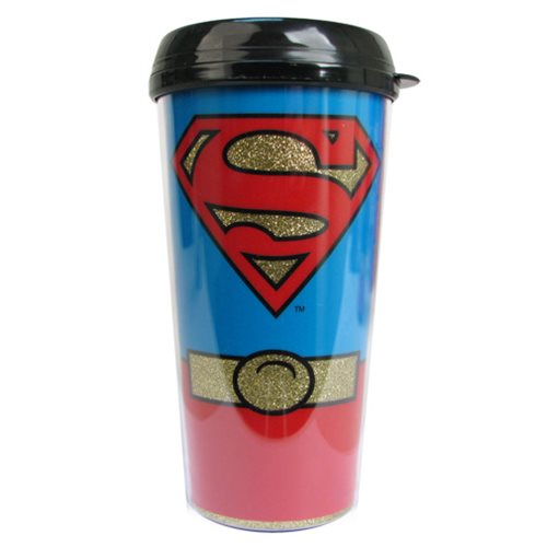 Superman Uniform Glitter 16 oz. Plastic Travel Mug