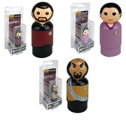Star Trek: The Next Generation Riker, Troi, and Worf Pin Mates Wooden Collectibles Set