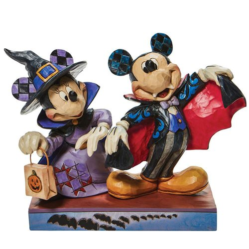 Disney Traditions Minnie Witch and Vampire Mickey Terrifying Trick-or-Treaters by Jim Shore Statue
