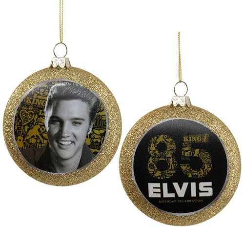 Elvis Presley 85th Birthday 3-Inch Glass Disc Ornament