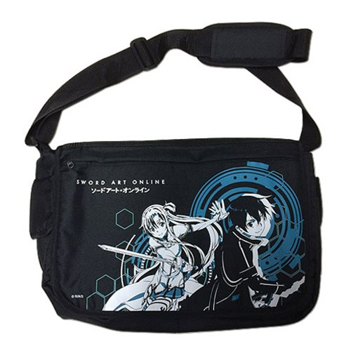 Sword Art Online Kirito and Asuna Black Messenger Bag