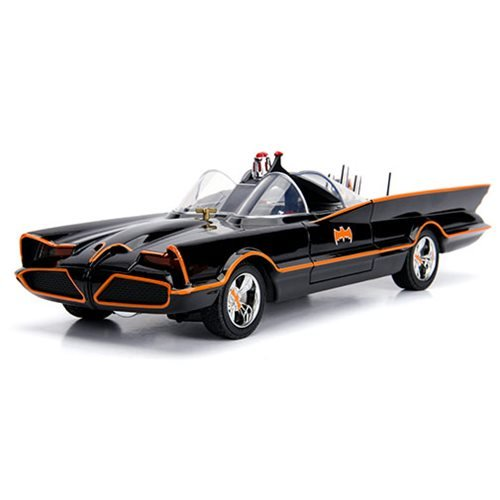 Batman 1966 TV Series Batmobile 1:18 Scale Die-Cast Metal Vehicle with Lights 3-Inch Batman and Robi