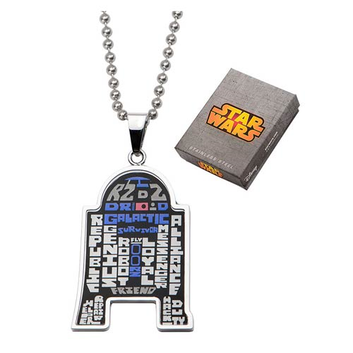 Star Wars R2-D2 Enamel Typography Art Pendant Necklace