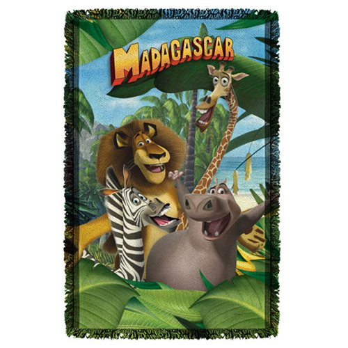 Madagascar Jungle Time Woven Tapestry Throw Blanket