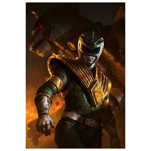 Mighty Morphin Power Rangers Green Ranger and Dragonzord Metal Artwork Print