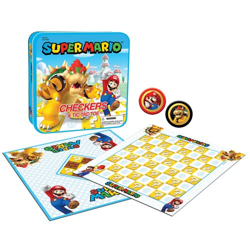 Super Mario vs. Bowser Checkers and Tic Tac Toe Game Set