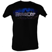 RoboCop City Scape and Logo Black T-Shirt