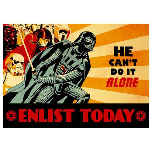 Star Wars Darth Vader Enlist Today He Can't Do It Alone Paper Giclee Art Print