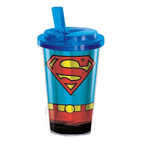 Superman Uniform 16 oz. Flip-Straw Travel Cup
