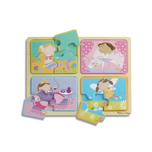 Melissa & Doug Natural Play Little Princesses Wooden 16-Piece Puzzle