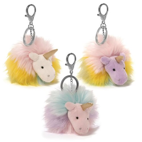 Unicorn Rainbow Poofs Plush Key Chain Set