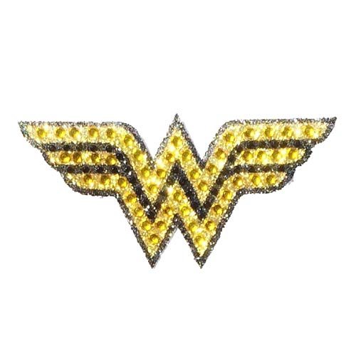 Wonder Woman Logo Yellow and Black Crystal Studded Small Decal