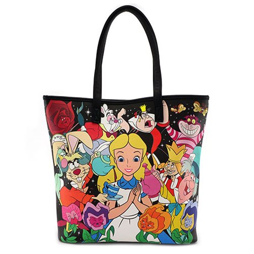 Alice in Wonderland Character Print Tote Purse