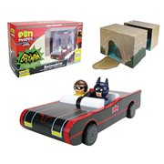 Batman Classic TV Series Batmobile with Batman and Robin Wooden Pin Mates and Papercraft Batcave - Convention Exclusive