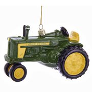 John Deere Tractor Glass Ornament