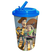 Toy Story Buzz and Woody Blue 16 oz. Flip-Straw Plastic Travel Cup