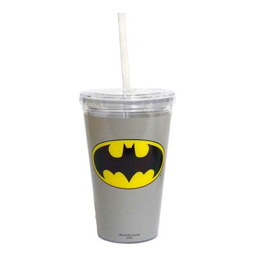 Batman Gray 16 oz. Travel Cup with Straw