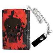 Punisher Metal Badge Trifold Chain Wallet