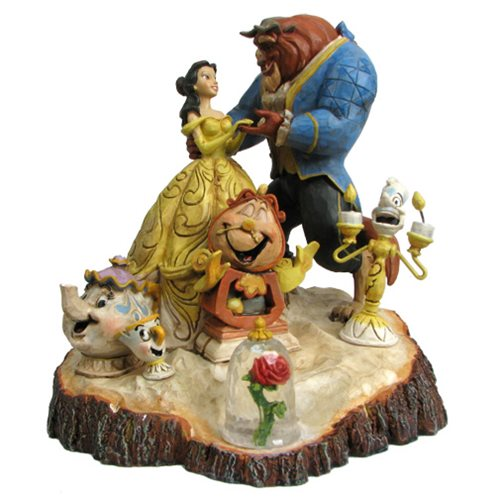 Disney Traditions Beauty and the Beast Carved by Heart Statue