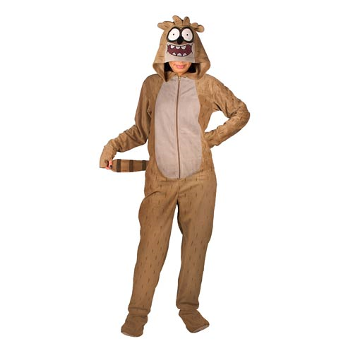 Regular Show Rigby Hooded Unisex Onesie with Thumb Holes and Removable Feet