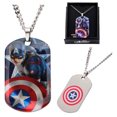 Captain America Stainless Steel Dog Tag Pendant Necklace