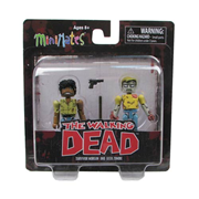 The Walking Dead Minimates Series 5 Geek Zombie and Morgan Mini-Mates