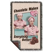 I Love Lucy Chocolate Woven Tapestry Blanket
