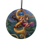 Disney Tangled up in Love Thomas Kinkade StarFire Prints Hanging Glass Ornament