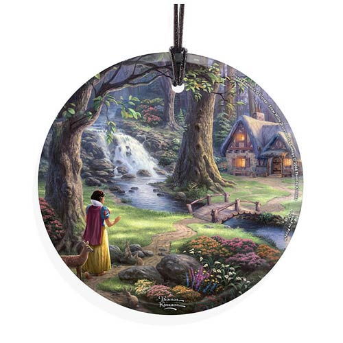 Snow White and the Seven Dwarfs Snow White Discovers the Cottage by Thomas Kinkade StarFire Prints Hanging Glass Print