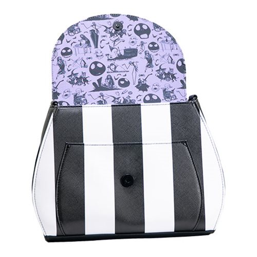 Nightmare Before Christmas Striped Saddle Crossbody Purse