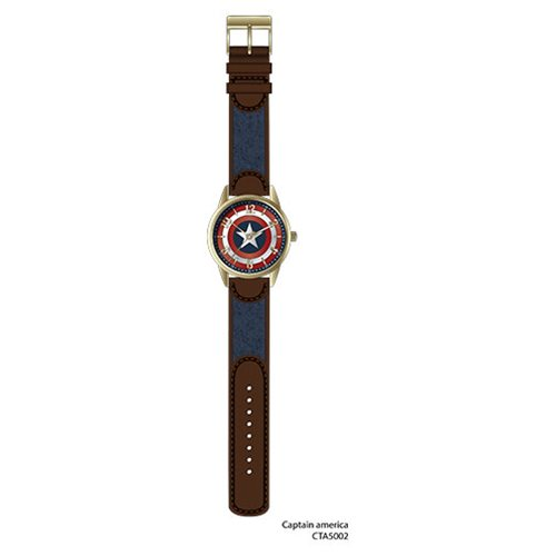 Captain America Printed Dial Antique Gold Finish with Printed Star Fabric Inlayed Strap Watch