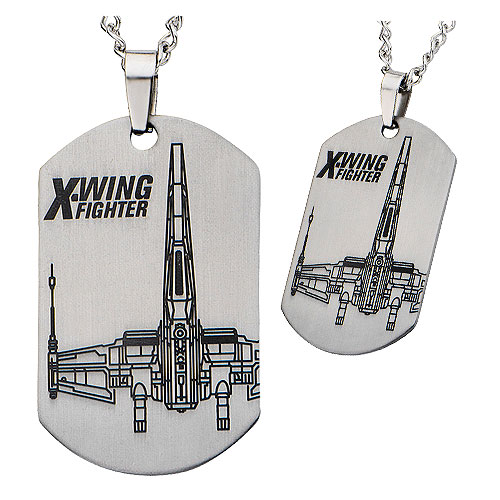 Star Wars: Episode VII - The Force Awakens X-Wing Starfighter Laser Etched Stainless Steel Dog Tag Pendant Necklace