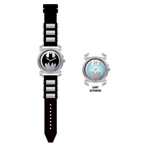 Batman Logo Gray Bullet Black Rubber Strap Watch with Lights