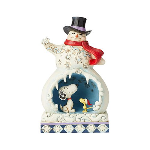 Peanuts Snowman with Snoopy Scene Snowy Splendor by Jim Shore Statue