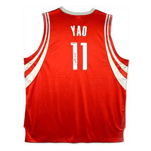 best service 37e2f 08051 Yao Ming Signed Houston Rockets Away/Red Jersey