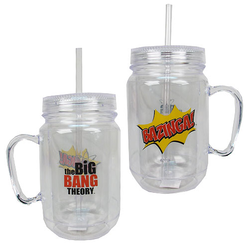 The Big Bang Theory Bazinga Clear Mason-Style Plastic Jar with Lid and Handle