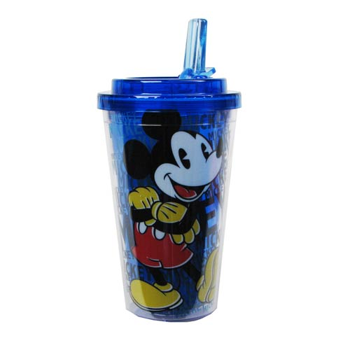 Mickey Mouse Disney Plastic 16 oz. Flip-Straw Travel Cup