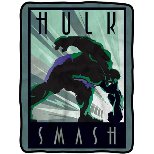 Hulk Smash Retro Ad Poster Artwork Fleece Throw Blanket