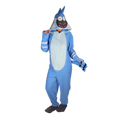 Regular Show Mordecai Hooded Unisex Onesie with Thumb Holes and Removable Feet