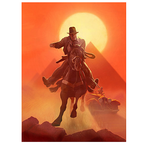 Indiana Jones Escape from Atens Tomb Canvas Giclee Print