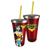 Wonder Woman 16 oz. Stainless Steel Travel Cup with Straw