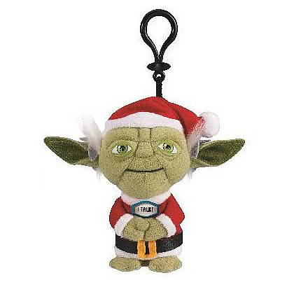 Star Wars Yoda with Santa Hat Mini Talking Clip-On Plush