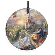 Beauty and the Beast Falling in Love by Thomas Kinkade StarFire Prints Hanging Glass Print