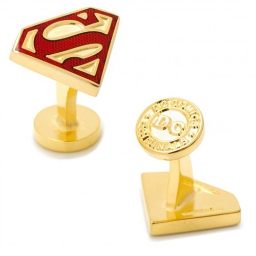 Superman Gold Enamel Shield Cufflinks