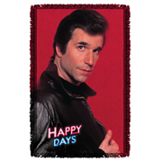Happy Days Red Fonz Woven Tapestry Throw Blanket