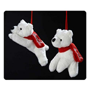 Coca-Cola Polar Bears Sitting / Lying Plush Ornament Set